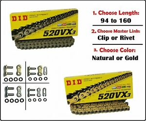 D.I.D DID 520 VX3 Xring Motorcycle Drive Chain Gold or Natural with Master Link $87.20