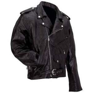 Mens Black Buffalo Leather Motorcycle Jacket Zip-Out Liner Classic Biker Style