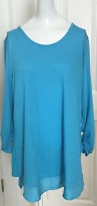 Women's Grace Elements NWT Turquoise Blue High Low Top With Split Back SZ M
