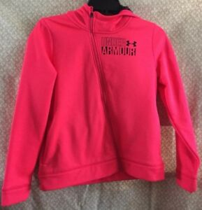 Girls Under Armour NWT Pink Full Fleece Hoodie Size Youth Large