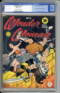 WONDER WOMAN #2  CGC  7.0  FVF  GREAT EYE APPEAL!   BLACK COVER REALLY POPS!