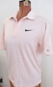 AS IS Golf Pro TIGER WOODS COLLECTION Pink Striped NIKE FIT DRY ShirtSize M