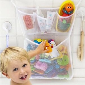 Bathroom Toy Organizer with Suction Hooks Mesh Toy Storage for Kids Net Bag