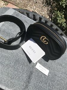 NEW Gucci GG Marmont Black Leather Belt Bag