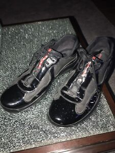PRADA Men's Americas Cup Sneakers Black Patent Leather - Size 10 12 US