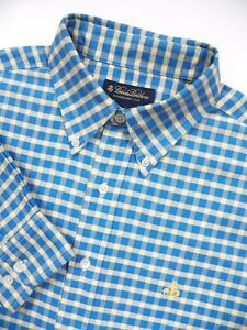 BROOKS BROTHERS MENS LARGE CASUAL SPORT SHIRT BLUE YELLOW CHECK GOLD FLEECE LOGO