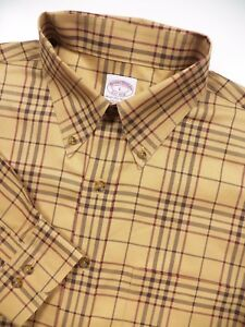BROOKS BROTHERS MENS LARGE CASUAL SPORT SHIRT BEIGE CAMEL NOVA CHECK PLAID LUXE
