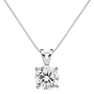 1.5 Ct Round Solitaire Diamond Pendant Necklace in Real Solid 14k White Gold