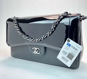 CHANEL JUMBO CLASSIC FLAP. BLACK PATENT AND LAMBSKIN. BRAND NEW!!