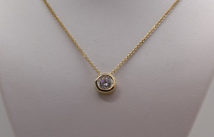 1CT ROUND SOLITAIRE PENDANT NECKLACE BEZEL SET 18