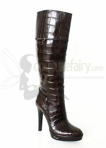 BN OUTSTANDING BROWN GUCCI EXTRA TALL ALLIGATOR SKIN BOOTS WITH CITES 18K$