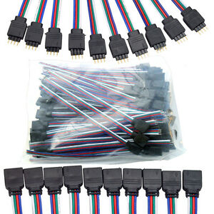 10-100 4-Pin Male Female With Wire RGB Connector for 3528 5050 LED Strip Light