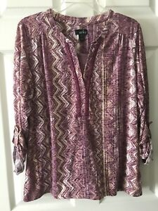 Erika Missy Women's 34 Sleeves Roll Up Tab Purple Blouse Top Shirt Size Medium