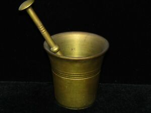 VINTAGE BRASS  MORTAR AND PESTEL PILL CRUSHER  MADE IN SWEDEN