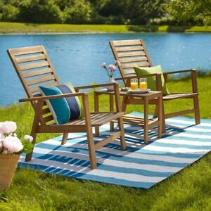 Beach Patio Set Transitional Brown Weather Resistant Table Chair Furniture 3 Pcs
