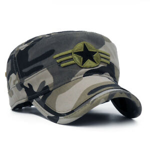 2018 Army camouflage Flat Top Mens Caps Hat Adjustable Star embroidery Cotton Ca