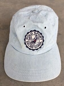 cf6479cb7e091 Vintage Polo Sport Ralph Lauren USA Made Cap Hat Bear P Wing RRL Sailing  Yacht