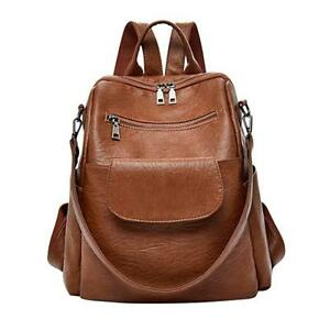 ABage Women's Washed Leather Backpack Purse Handbag Travel College Brown
