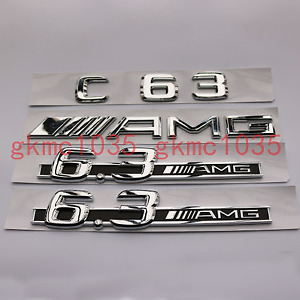 Chrome C63 AMG 6.3AMG Side stickers Letters Trunk Embl Badge Sticker for Benz