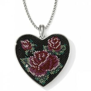 Brighton VICTORIAN ROSE NWT $188 Long Reversble Silver Statement Heart Necklace