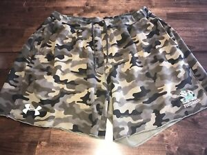 TEAM ISSUED NOTRE DAME FOOTBALL LOOSE UNDER ARMOUR CAMO SHORTS VERY RARE Sz XL!!