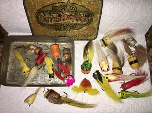 Antique Weber ~ Shakespeare Wooden Tackle Fly Rod Fishing Lures 20 Old Cigar Tin