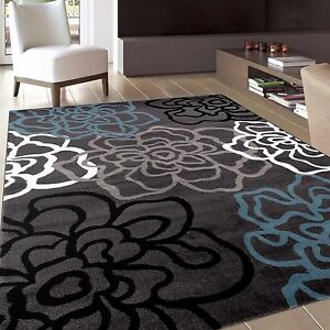 RUGSHOP CONTEMPORARY MODERN FLORAL FLOWERS GRAY SOFT AREA RUGS $94.99