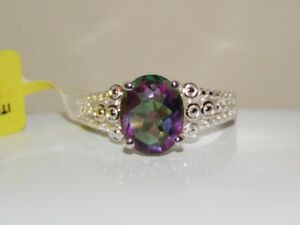 BEAUTIFUL FIRE  MYSTIC TOPAZ RING  .925 STERLING SILVER    SIZE 7     2.35 CTW