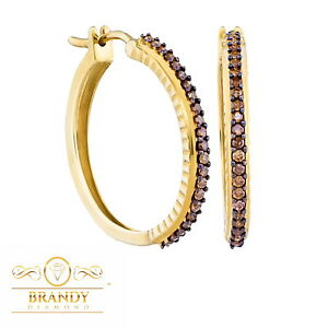10K Yellow Gold Pretty Brandy Diamond Chocolate Brown Lovely Hoop Earrings .50Ct