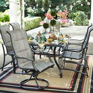 Hampton Bay Outdoor Dining Set Weather Resistant Powder-Coated Aluminum 7-Piece