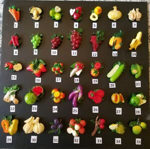 70 NEW Refrigerator Magnets FruitsVegetables 3D. Quanity 70. Free shipping.