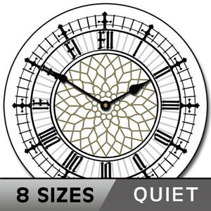 Big Ben White Clock Ultra Quiet, Wall clock,  Comes in 9 sizes