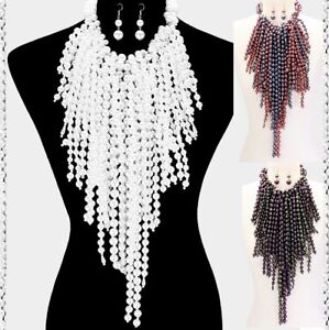 2 Layered Statement Chunky Long Fringe Bib Beaded Lucite Pearl Necklace Metallic