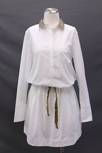 NWT $2245 Brunello Cucinelli Drawstring Shirt-Dress WGold Lurex Collar SzM A186