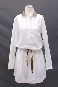 NWT$2245 Brunello Cucinelli Drawstring Shirt-Dress WGold Lurex Collar Sz M A186