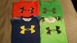 Lot of 4 Under Armour Boys dry dri fit T Shirts Size YXL Youth EXTRA LARGE Logo