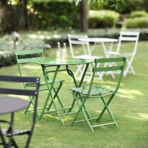 Outdoor Patio Bistro Set Weather Resistant Armless Steel Green Finish (3-Piece)