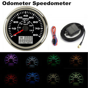 85mm Car GPS Speedometer Gauge 8 Color Backlight 0-80MPH LCD Speed Odometer KMH