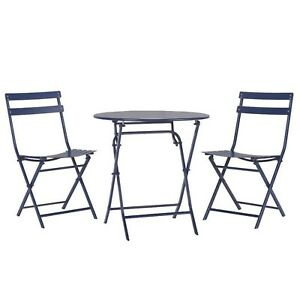 Patio Bistro Set Weather Resistant Foldable Armless Powder Coated Round Metal