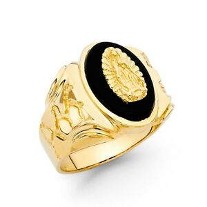 Mens Oval Onyx Gaudalupe 14k Solid Yellow Gold Band 18mm Ring Hombres Oro Anillo