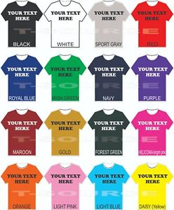Custom Printed T Shirts MIX & MATCH Shirt Color FONTS Small 4X as low as $9.95ea $11.99