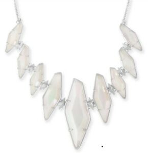 KENDRA SCOTT BERNIECE STATEMENT BIB NECKLACE IRIDESCENT WHITE AGATE SAVE w15%
