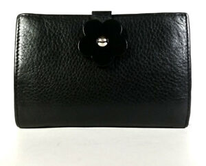 $189 FURLA WALLET Black Leather Organizer Card Wallet Coin Purse *PRIMO*