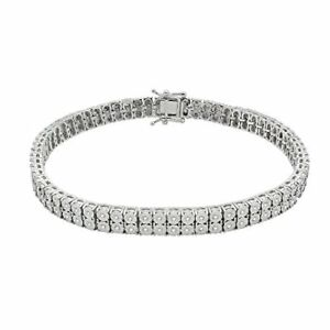 Men's 0.40 Ct Real Diamond 925 Sterling Silver Tennis Bracelet