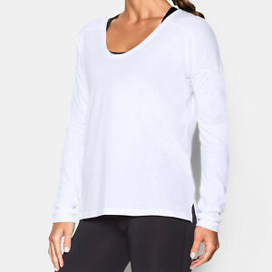 Womens Under Armour Top Ladies Drop Shoulder Loose Long Sleeve Favourite Shirt
