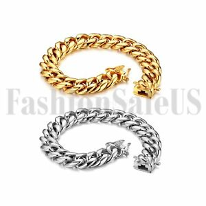 Men's Polished Gold Silver Tone Heavy Stainless Steel Curb Chain Bracelet Bangle