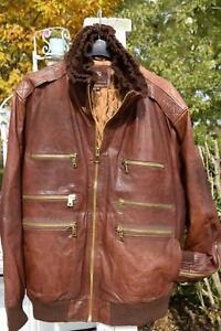 Mens Rocco Tuscani Brown Bomber Leather Jacket Big Tall 5XL