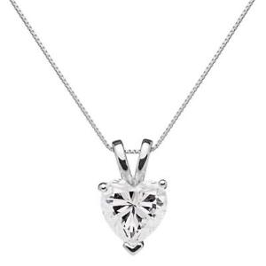 1 Ct Heart Brilliant Cut Diamond Pendant Necklace in Solid 14k White Gold
