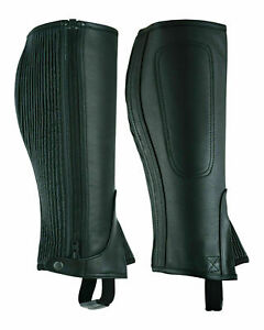 A&H Unisex Adults Top-Grain Cow Premium Leather Half Chaps Black and Brown