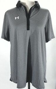 UNDER ARMOUR Polo Clubhouse Golf Striped BlackGray Loose Top 1270480 XL $59.99